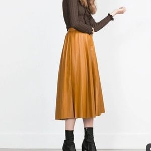 Zara pleated leather midi skirt